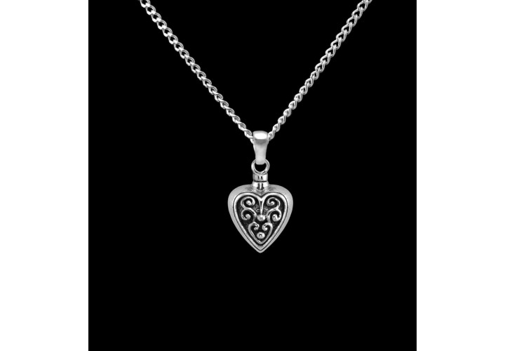 Sterling Silver Filigreed Heart Cremation Pendant #36-655
